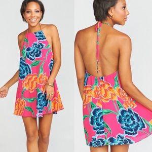 Tropical floral halter dress